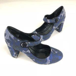 Sole Society Sz 7 Blue Block Heel Mary Jane